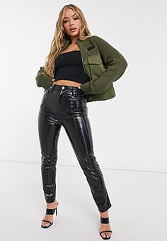 Diesel ribbed knitted utility jacket with draw string waist in khaki-Green