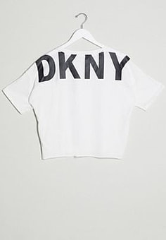 DKNY cut off logo short sleeve cropped tee-Black