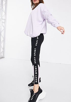 DKNY highwasited legging with side logo in black-Purple