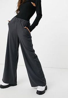 Dr Denim Bell trousers in charcoal-Black