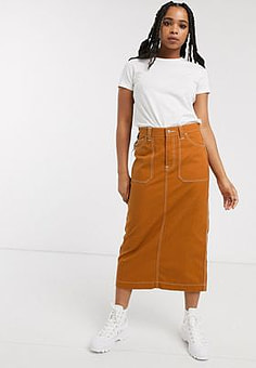 Dr Denim contrast stitch detail midi skirt-Tan