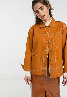 Dr Denim contrast stitch worker jacket-Brown