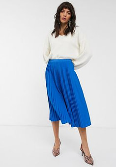 Dr Denim pleated midi skirt-Blue