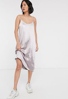 Dr Denim satin slip dress-Silver