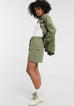 Dr Denim utility pocket skirt-Green