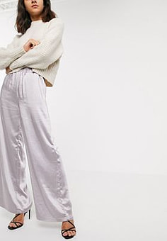Dr Denim wide leg satin trouser-Silver
