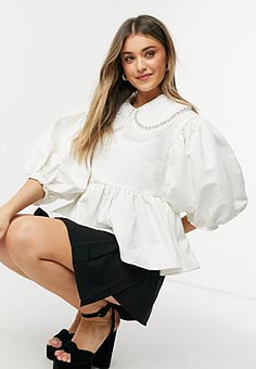 sister jane Dream blouse with bib collar and embellishment in white