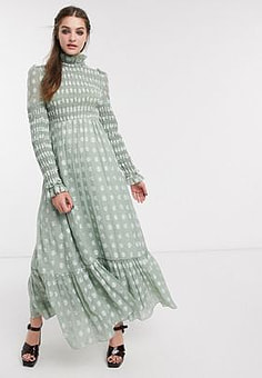 sister jane DREAM maxi dress with frill neck in shirred floral-Green