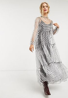 sister jane DREAM maxi smock dress with tiered skirt and bow back in polka dot organza-Black