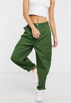 Pepe Jeans Dua Lipa x high rise cargo pant with utility pockets in khaki-Green