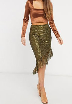 Elvi asymmetric sequin skirt in gold