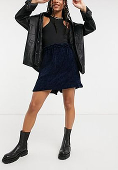 Elvi chenille skirt in black