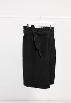 Elvi denim paperbag skirt in black