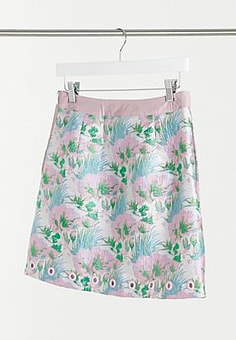 Elvi jacquard mini skirt in floral-Multi