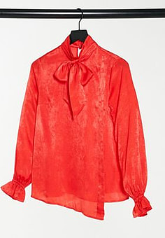 Elvi satin pussy bow blouse in red