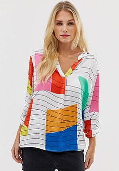 Esprit abstract print blouse in white-Multi