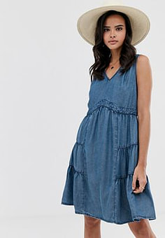 Esprit chambray denim smock dress-Blue