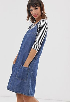 Esprit dungaree denim dress in blue