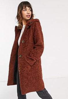 Esprit faux fur duffle coat in brown-Blue