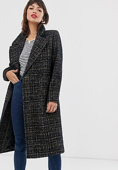 Esprit formal longline check coat-Brown