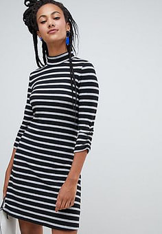 Esprit high neck stripe dress in black and white-Multi