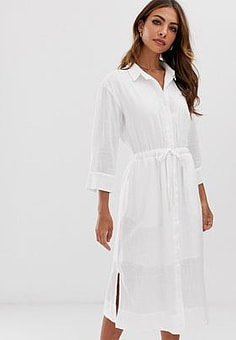 Esprit tie waist midi shirt dress with side slits in white