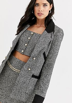 Fashion Union boucle tailored blazer co-ord with contrast collar and cuff-Multi