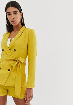 Fashion Union double breasted blazer with tie waist co-ord-Yellow