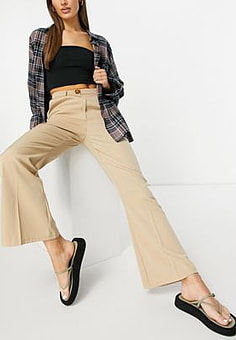 Fashion Union high waist kick flare tailored trousers co-ord-Neutral