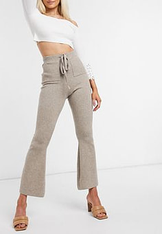 Fashion Union knitted trousers with drawstring waist co-ord-Beige