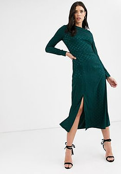 Fashion Union long sleeve midi dress with dip back and tie detail-Green