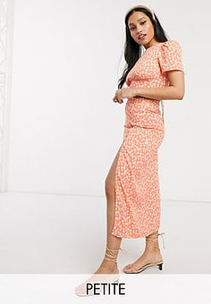 Fashion Union midi skirt with thigh split in floral co-ord-Orange