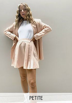 Fashion Union tailored pleated skirt co-ord-Pink