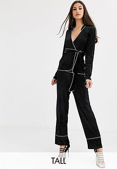 Fashion Union velvet trouser coord in allover diamante-Black