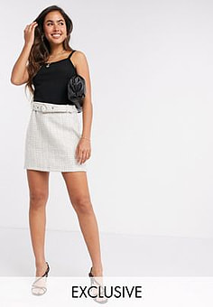 Fashion Union tweed skirt with belt co-ord-Neutral