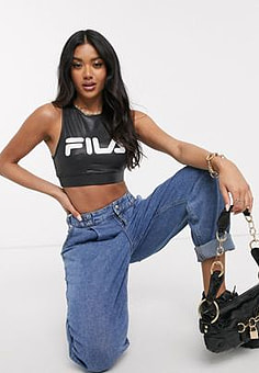 Fila high neck crop top with front logo in stretch lame-Black
