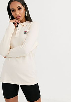 Fila long sleeve polo top with chest logo in waffle-Cream