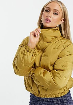 Fila repeat logo puffer jacket in gold