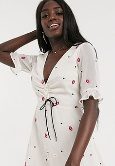 Finders Keepers chi chi lips and daisy print mini dress in vanilla daisy-White