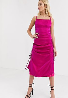 Finders Keepers rouche detail satin cami dress in fuscia-Pink