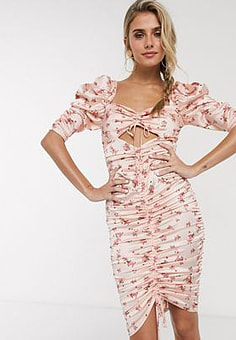For Love And Lemons For Love & Lemons Aster floral midi dress in peach floral-Pink
