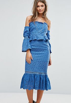Foxiedox Off The Shoulder Midi Dress With Ruffle Details-Blue