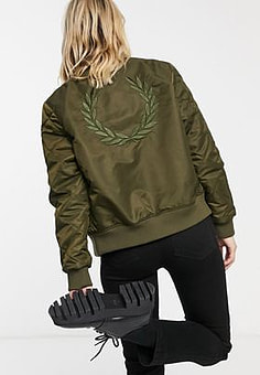 Fred Perry quilted sleeve bomber jacket in olive-Black