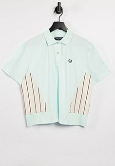Fred Perry woven panel polo shirt in brighton blue