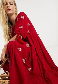 Free People celestial skies maxi dress-Red