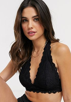 Free People Galloon Lace Halter Bra-Black