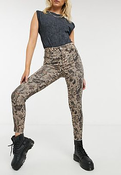 Free People high rise animal print jeans in multi
