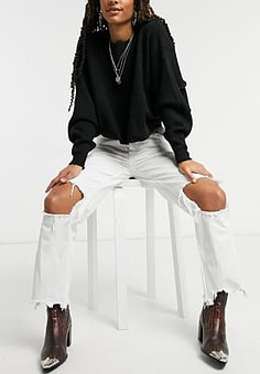 Free People Maggie mid rise straight jeans in white