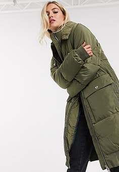 Free People oslo utility puffer in khaki-Green
