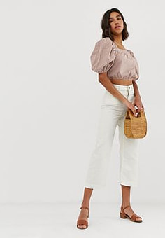 Free People Patti wide leg cropped trousers-White